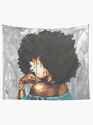 WYFCLHH Hermoso tapiz de niña negra para el pelo, accesorios para el cabello, tapiz de arte retro, para colgar en la pared, para dormitorio, sala de estar, decoración del hogar, 51.2 x _59.1 pulgadas