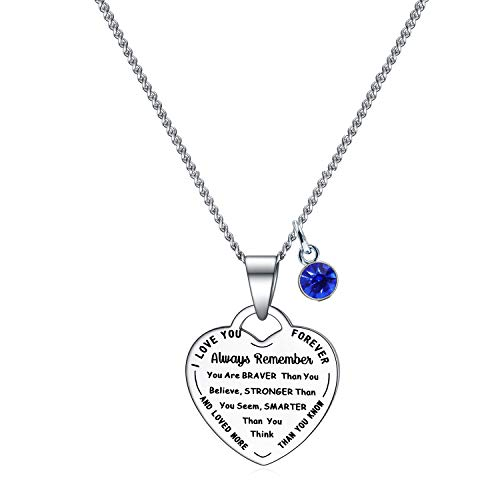 Rnivida Always Remember You are Braver Than You Believe Pendant Necklace, Inspirational Jewelry Gifts for Women Girls (Sapphire Blue)