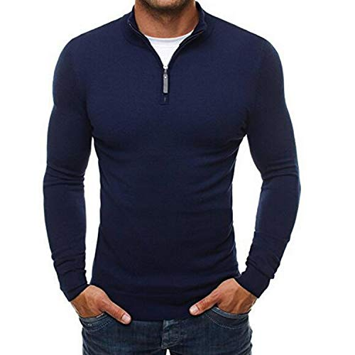 Spring Men's Sweater Pullovers Simple Style Knitted V Neck Sweater Jumpers,Navy,XXXL