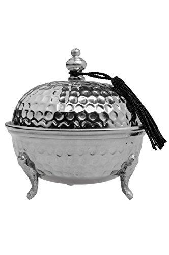 Oosterse suikerpotjes blikjes van messing in zilver Amir 12 cm | Marokkaanse muntpot thee koffie doos klein | Indiase vintage voorraaddoos kruidendoos rond | Oosterse decoratie op tafel