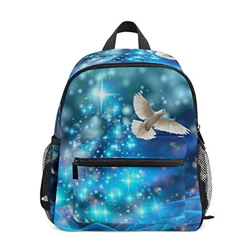 Kleine Schultasche Winter Weihnachten Taube Vogel Rucksack für Mädchen Jungen Kinder Mini Reise Tagesrucksack Grundschule Schüler Büchertasche