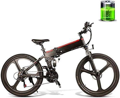 RDJM Bici electrica 26 pulgadas eléctrica plegable de 48V 10AH de bicicletas...