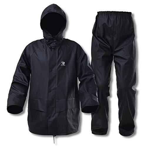 Commercial Rain Suits for Men Waterproof Heavy Duty Foul Weather Gear Rain Coat Jacket and Pants(Black, Large)
