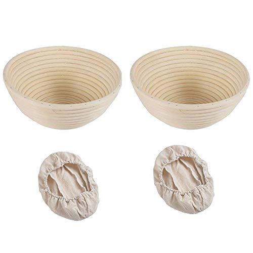 mistybabes Gärkorb Gärkörbchen Rund, Brotkorb Brotkörbchen 25 cm aus Peddigrohr Korb für Brot und Brotteig, mit Leineneinsatz