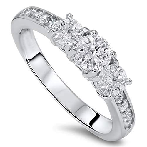 1ct Diamond 3 Three Stone Engagement Ring 10K White Gold - Size 8
