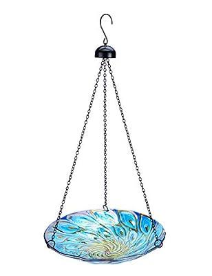 MUMTOP Hanging Bird Bath Outdoors Glass Bird Bath for Garden Decor