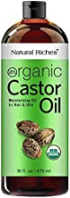 Natural Riches Thick Hair Organic Castor Oil Cold Pressed for Hair Loss & Dandruff - Moisturizes Heals Dry Skin, for Scalp, Skin, Hair Growth, Thicker Eyelashes & Eyebrows - 16 oz