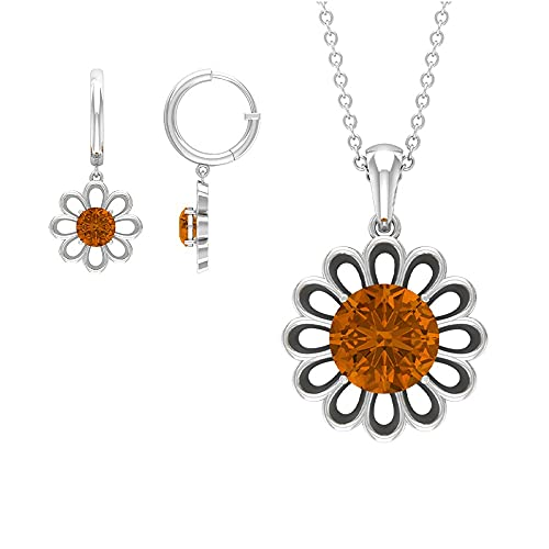 Rosec Jewels 18 quilates oro blanco redonda Orange Turmalina naranja creada en laboratorio