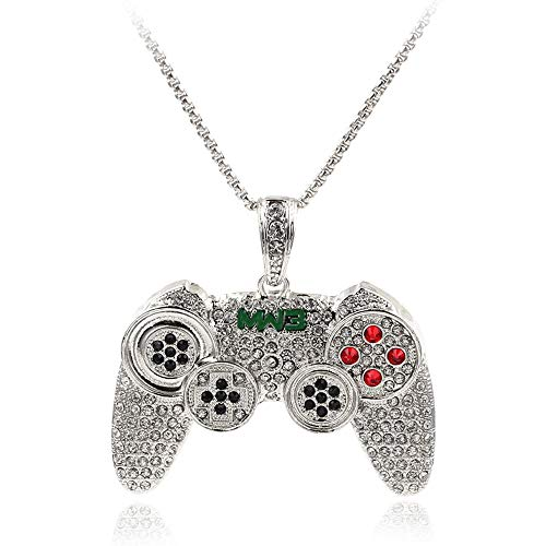 Hip Hop Iced Out Crystal Gamepad Pendant Necklace Bling Pendants Jewelry with 24' Rope Chain Silver