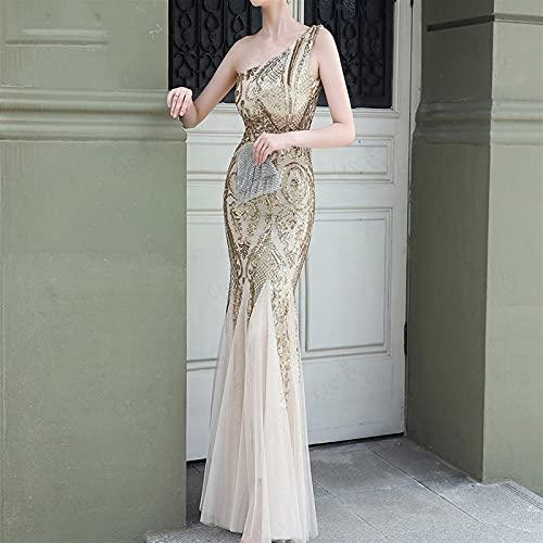 Vestidos de mujer Vestidos de noche de oro Sirena Un hombro Barato...