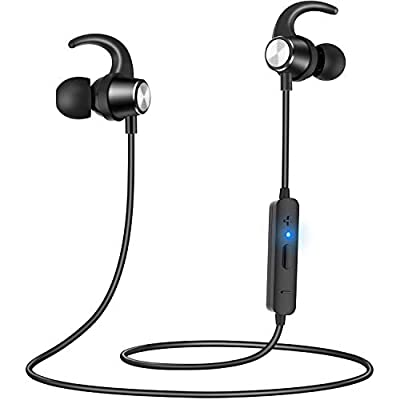 Gritin Bluetooth Headphones, Wireless Sports Earphones Magnetic In-Ear Sweatproof Sports Headphones with Noise Cancelling Mic and 7 Hrs Playtime for Running, Cycling, Gym, Travelling