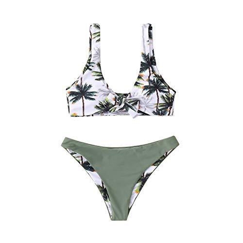 YANFANG Traje De BañO Mujeres Bandage Bikini Set Push-Up T Ropa Playa BañO Retro Conjunto Push Up Twist Correa Espagueti Dos Piezas BañAdor Estampado Cintura Baja Acolchado SGreen