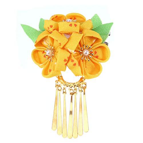 Amosfun Japanische Haarnadel Kimono Blume Haarspange Kanzashi Blume Haargummi Band Clip für Frauen Mädchen (gelb)
