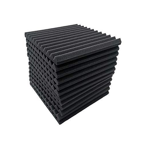 12st Brandpreventie akoestische panelen, zwarte driehoekige Groove Drum Room Piano Room High Density Geluidsabsorberende Cotton (Color : Black)