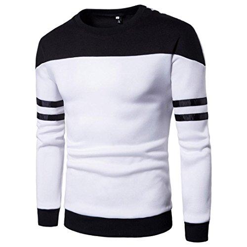 UJUNAOR Männer Lange ÄrmelKlassische Patchwork Pullover Sweatshirt Top Tee Outwear Bluse(XL,Weiß 2)