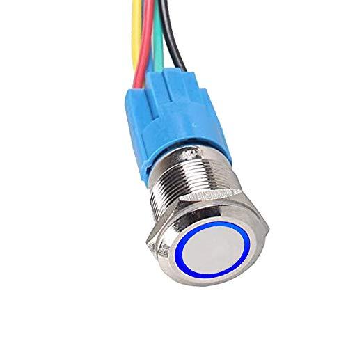 E Support™ 16mm 12V 3A bleu de v¨¦hicule automobile LED poussoir m¨¦tallique bouton interrupteur de puissance lumineuse prise bouchon de commutateur