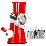 Gohyo Rotary Cheese Grater Handheld, Vegetable Chopper Mandoline Slicer, Nut Grinder, Easy Cleaning Shredder for kitchen With 3 Round Stainless Steel Blades (Red)