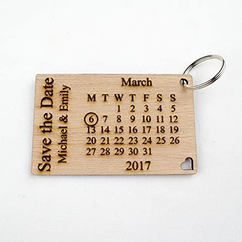 Llaveros personalizables de madera con texto 'Save The Date', para invitaciones de boda, calendario (70)