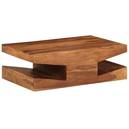 ROMELAREU Couchtisch Sheesham-Holz Massiv 90 x 60 x 30 cm Möbel Tische Ziertische Couchtische