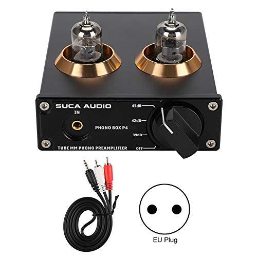 VBESTLIFE MM Phono versterker, DC12V Phono Box P4 verguld RCA-paneel MM Phono voorversterker ondersteuning analoge ingang, EU-stekker.