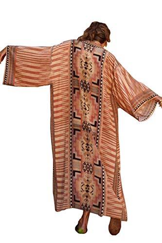L-Peach Kimono Bohemio para Mujer Ropa de Salón Batas de Gran Tamaño Vestido de Playa Pareos