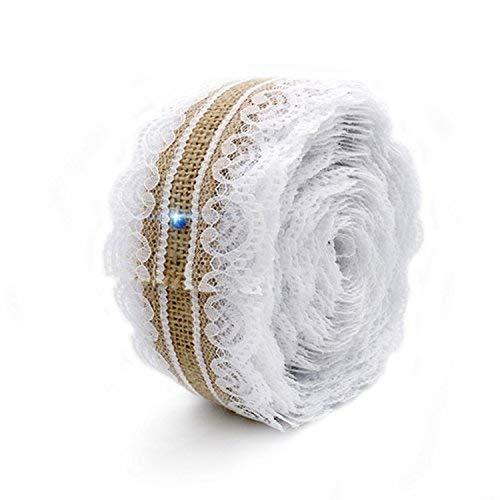 Rollo de cinta de arpillera de yute natural de 2,5 cm x...
