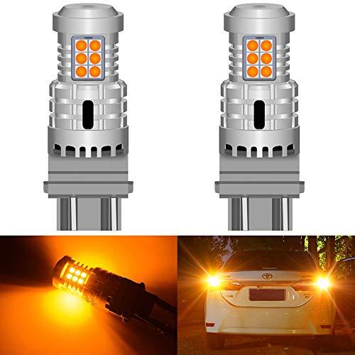 Fpm Cola luz de Freno LED 2 unids P27 / 7W 3157 LED Error CANBUS Free No Hiper Flash Señal de Giro Lámpara inversa T25 3156 P27W Luces de automóvil Amber Rojo Blanco 12V DC (Emitting Color : Orange)