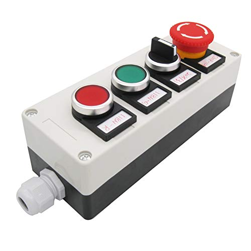TWTADE/Red Green Momentary Switch, Red Mushroom Emergency Stop Latching Push Button Switch,3 Positions 2NO Latching Select Selector Switch Station Box (Quality Assurance for 3 Years) hz-11ZS-20X-GR