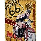 Cartel retro vintage de metal original Co para pared Route 66 The Mother Road Classic Pin Up 20 x 15 cm Retro Wall Home Bar Pub Vintage Cafe Decor 20 x 12 pulgadas