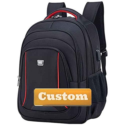 Nome personalizzato Personalizzato Business USB Zaino da viaggio per viaggi da viaggio 16 pollici Best Bag (Color : Black, Size : One size)