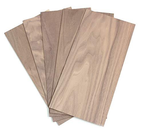 wodewa Holz Furnier Set 4mm Starkfurnier Nussbaum 15x14cm 5er Set Sägefurnier Bastelholz Platten Echtholz Holzfurnier zum Basteln Holzplatte Bastelset Modellbau DIY