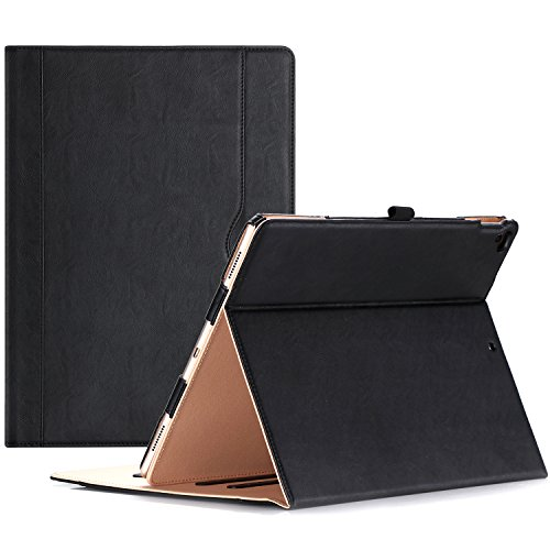 ProCase Apple iPad Pro 12.9 (2017/2015 Old Models) Case -Premium Leather Stand Folio Case Cover,with Apple Pencil Holder Auto Sleep/Wake, for iPad Pro 12.9 Inch -Black