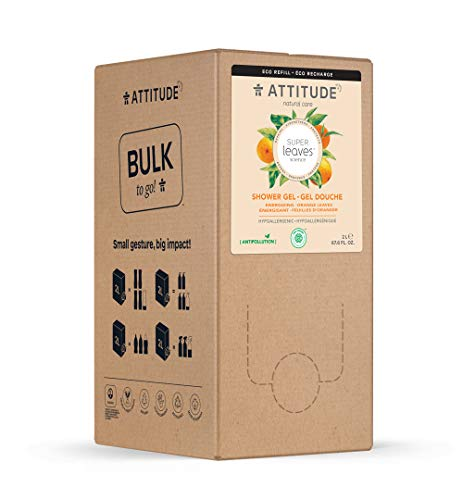 ATTITUDE Body Wash Eco-refill, Bulk-to-Go Packaging, EWG Verified Hypoallergenic Energizing, Vegan + Cruelty-free, Orange Leaves, 67.6 Fl Oz