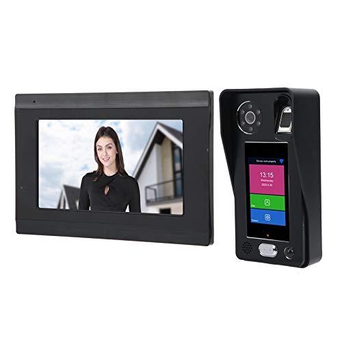 Timbre inalámbrico con video WiFi, Videoportero 1080P con pantalla de 7 pulgadas, Sistema de entrada de puerta con reconocimiento facial y contraseña de huellas dactilares(EU)
