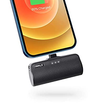 iWALK 3350mAh Portable Compact Built in Connector Docking External Battery Pack Power Bank Charger compatible with iPhone 12 Mini/12/12 Pro/12 Pro Max/11 Pro/XS Max/XR/X/8/7/6/Plus(Black)