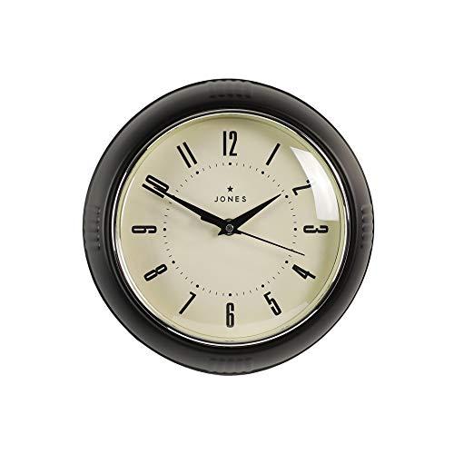 JONES CLOCKS Reloj Ketchup Retro Reloj de Pared con Caso de Colores, Cocina del hogar Comedor Comedor Oficina 25cm (Negro)