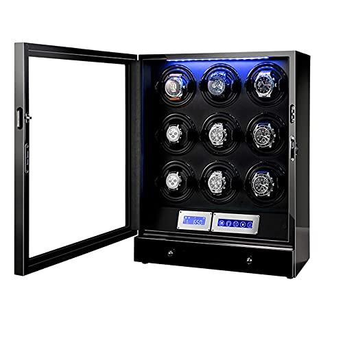N\C Enrollador de Relojes, Acabado de Piano con Almohadillas Ajustables para Relojes, iluminación LED y Pantalla táctil, 2 Espacios sinuosos Enrolladores de Relojes para Relojes automáticos QZQQ