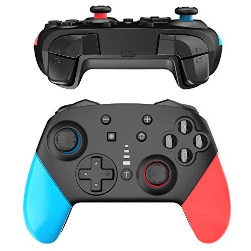 JOYSKY Bluetooth Wireless Controller mit 1200-mAh-Polymer-Lithium-Akku und Dual Shock Joysticks Spiele Controller (Blau/Rot)