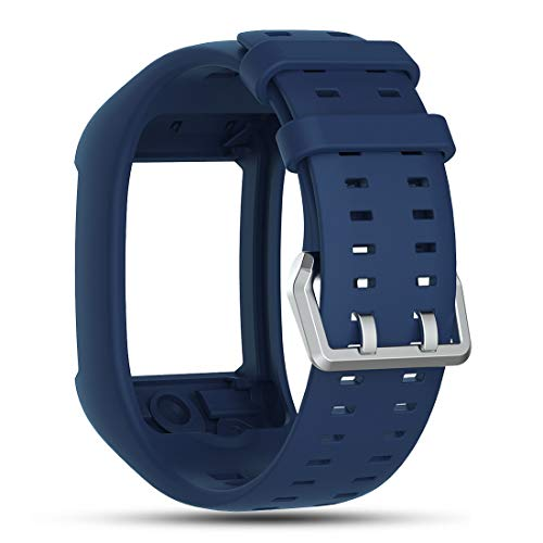 Cyeeson Polar M600 GPS Smart Montre Bracelet de Rechange Souple Bracelet en Silicone Sangle Montre Intelligente Bracelet Band Polar M600 Unisexe Adulte Montre GPS de Course, Bleu