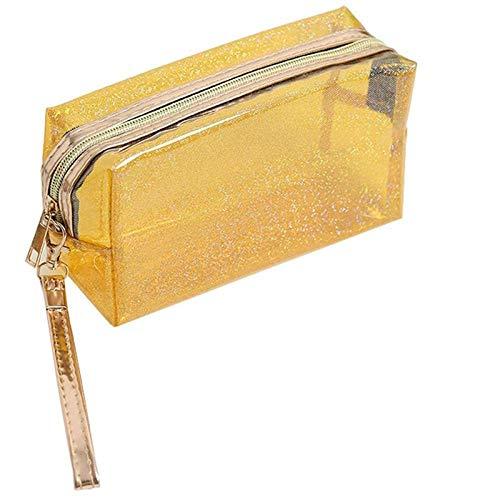 Sac cosmétique Mode Poche étanche Transparente Creative Portable Splash Proof Maquillage Pochette Trousse de Toilette pour Voyage 6.89 * 4.13inch-Yellow_6.89 * 4.13inch