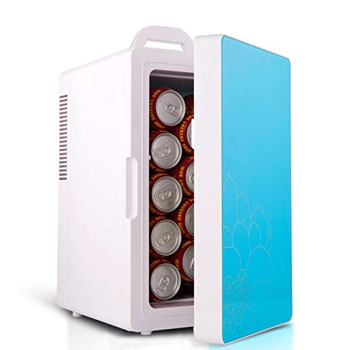 Portable Car Fridge Freezer Mini Car Refrigerator with Handle Compact AC/DC Cooler and Warmer 16L Large Capacity Icebox for Skin Care Breast Milk (Color : Blue)
