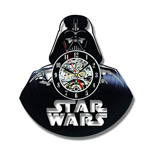 DIOPN Vinyl wandklok Darth Vader model Black Hollow Cd recorder The Wars thema antieke stijl vinyl hete hangende klok Mit Led