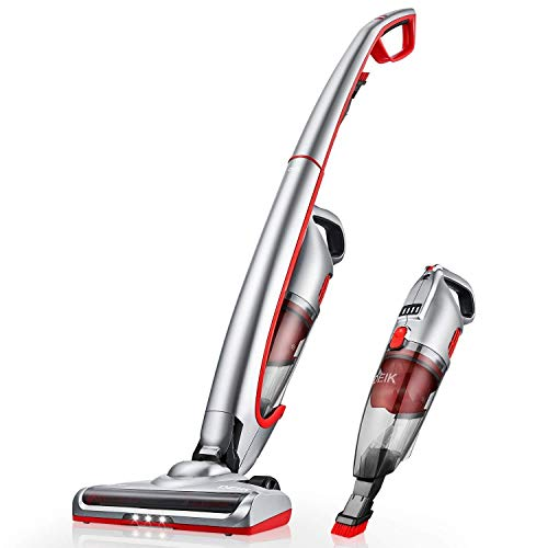 Cordless Vacuum, DEIK Portable Stick Vacuum Cleaner, Powerful Lightweight 2 in 1 Cordless Stick Vacuum with Rechargeable Lithium-Ion Battery for Hard Floor Carpet Pet Hair, White