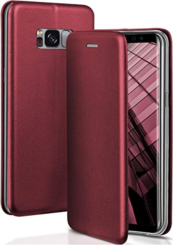 OneFlow® Premium Booklet mit unsichtbarem Magnetverschluss + Aufstellfunktion kompatibel mit Samsung Galaxy S8 | Exklusive Lederoptik, Wein-Rot