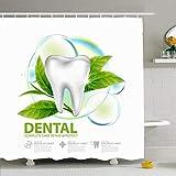 Set de cortina de ducha Ahawoso con ganchos Cuidado dental 3D Implante de té verde Hoja Resumen Concepto Blanco Belleza Moda Cuidado de la salud Médico Impermeable Tela de poliéster Decoración de baño