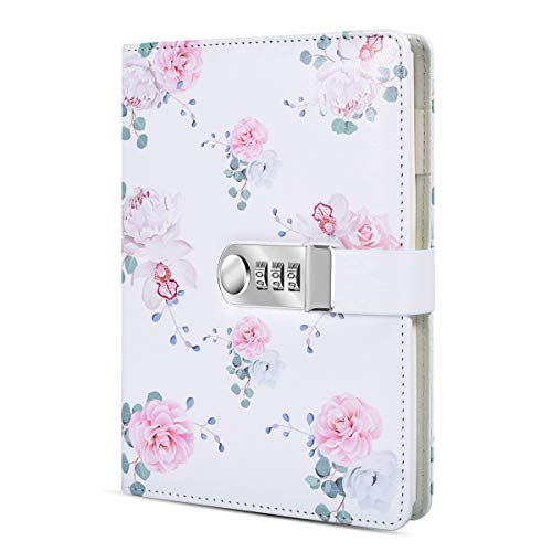 ARRLSDB A5 Creative Password Lock Diary, PU Leather Journal with Combination Lock Password Notebook Locking Personal Diary (Style 2)