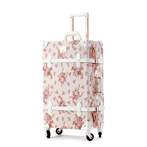 Unitravel Vintage Luggage 24 inch Retro Women Cute Suitcase with Spinner Wheels Combination Lock (Floral Pink)
