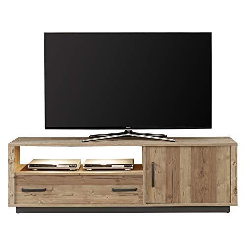 trendteam smart living Wohnzimmer Lowboard Fernsehschrank Fernsehtisch Lodge, 162 x 51 x 41 cm Bramberg Fichte mit viel Stauraum