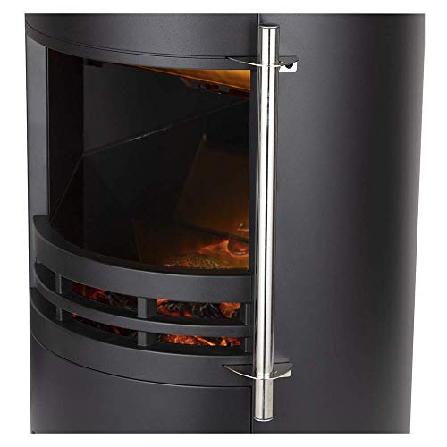 Warmlite Elmswell Electric Curved Contemporary Freestanding Stove Fire with 3D Log Burner Flame Effect, Adjustable Thermostat and 2 Heat Settings, 1000-2000 W, Black