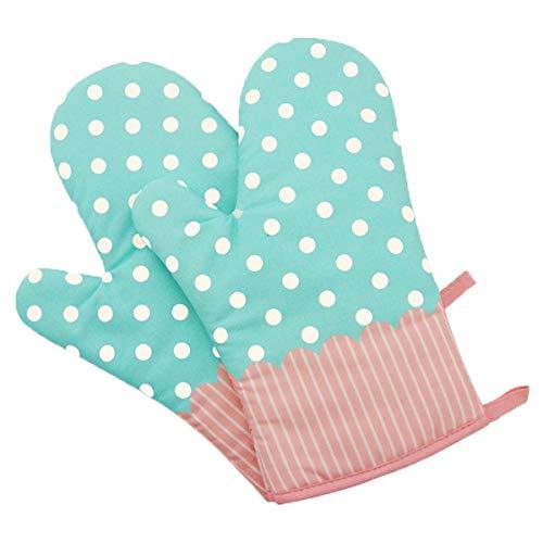 1 Paar Hitzebeständig Ofenhandschuhe Verdickte Hitzeresistente Topflappen Backhandschuhe aus Baumwolle und Polyester (1 Paar grün)